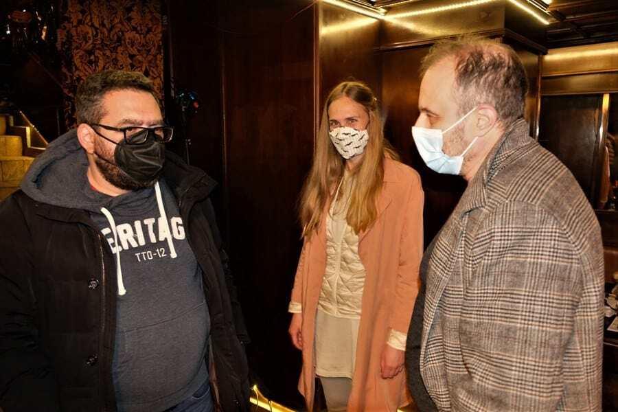 Na snimanju Traga divljaci -Milos Avramovic, Bojana Andric i Gordan Matic, foto Djordje Bajic