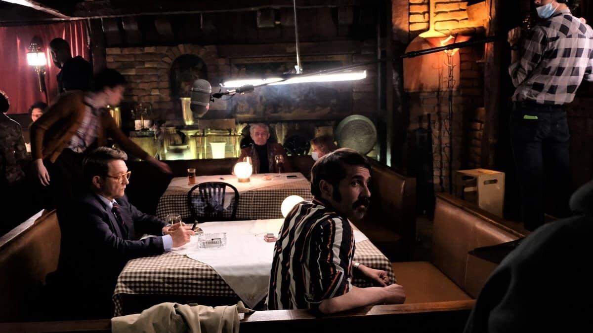 Na snimanju filma Trag divljaci - Dragan Bjelogrlic i Rasa Bukvic, foto Djordje Bajic